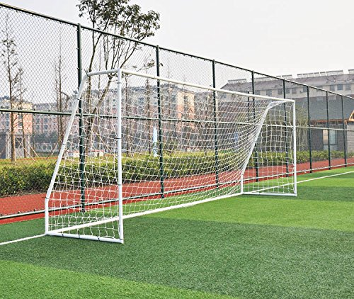 PASS Premier 12 X 6 Ft. Youth Size Steel Soccer Goal. 2' Diameter Strongest Steel Frame w/ Durable 4mm Net, Ground Stakes, Elastic Clasp & Re-Usable Ties. 12x6 Ft. Practice Aid.(1Net)