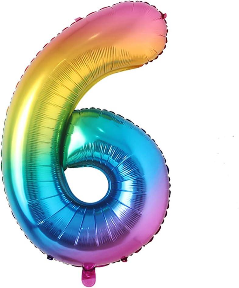 40inch Big Rainbow Foil Birthday Balloon Helium Number Balloons