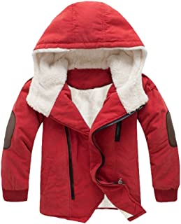 Boy's Thick Cotton-Padded Parka Jacket Hooded Fleece Coat