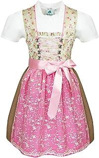 Isar-Trachten Kurzes Kinder Dirndl Lilli mit Spitzenschürze - Grün Rosa - Mädchen Trachtenkleid Gr. 116-164