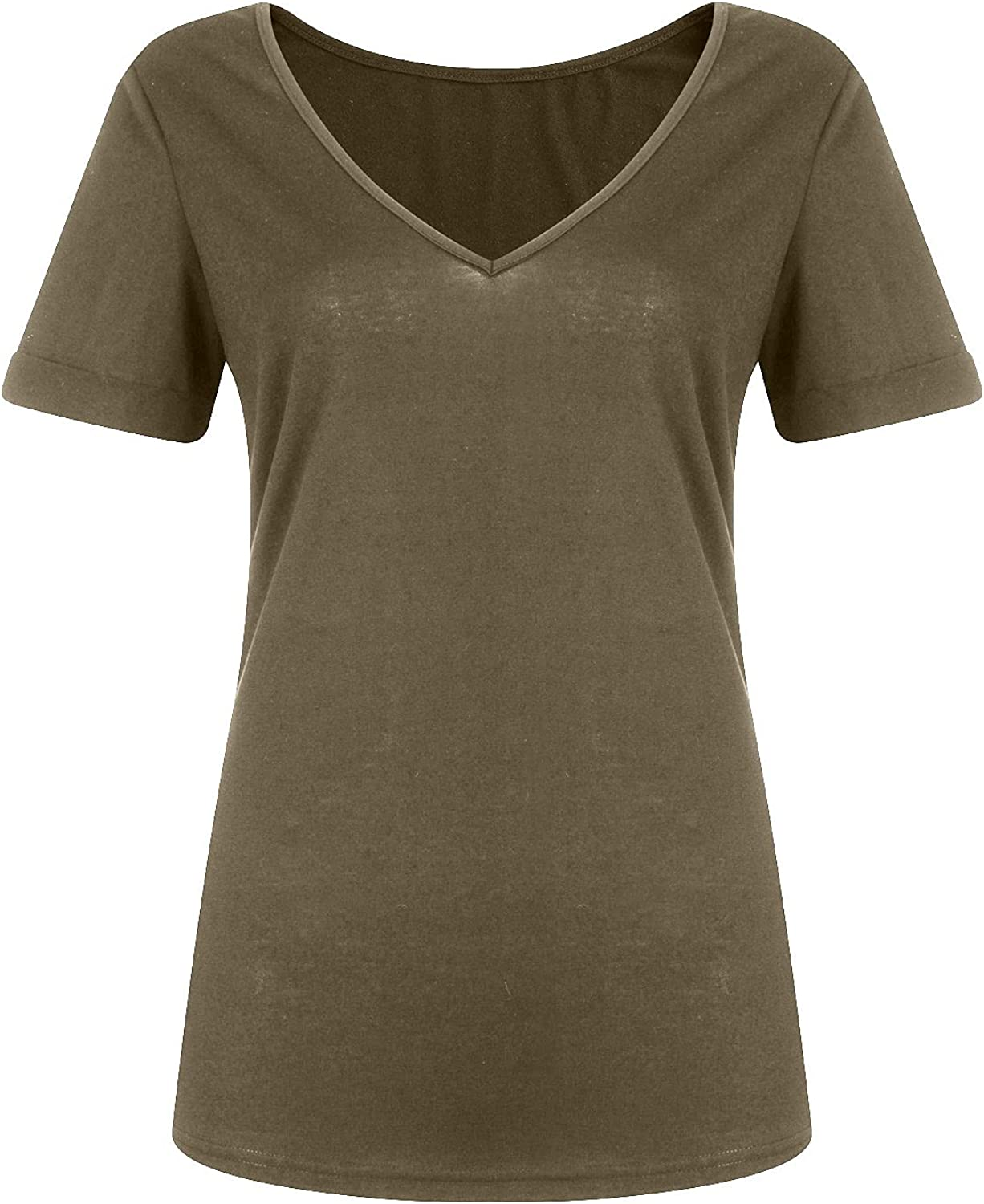 VonVonCo Pullover Sweaters for Women Loose Camisole Tank Tops Pure Color Casual Deep V-Neck Sexy Short-Sleeved T-Shirt