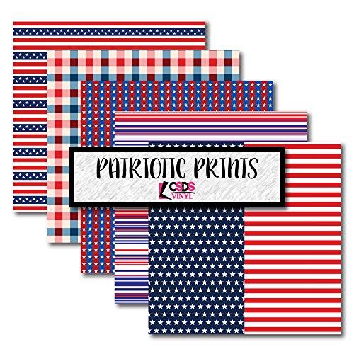 CSDS Vinyl Bundle Pack of Patriotic Printed Vinyl, American Printed Heat Transfer Vinyl, Flag HTV, USA Vinyl, American Vinyl (Heat Transfer Vinyl)