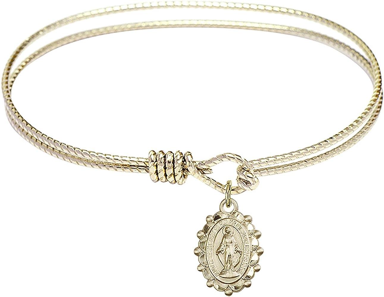 Bonyak Jewelry Oval Eye Hook Bangle Bracelet w/Miraculous Medal in Gold-Filled