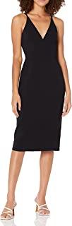 Dress the Population Women's Lyla Plunging Sleeveless Fitted Midi Sheath Dress