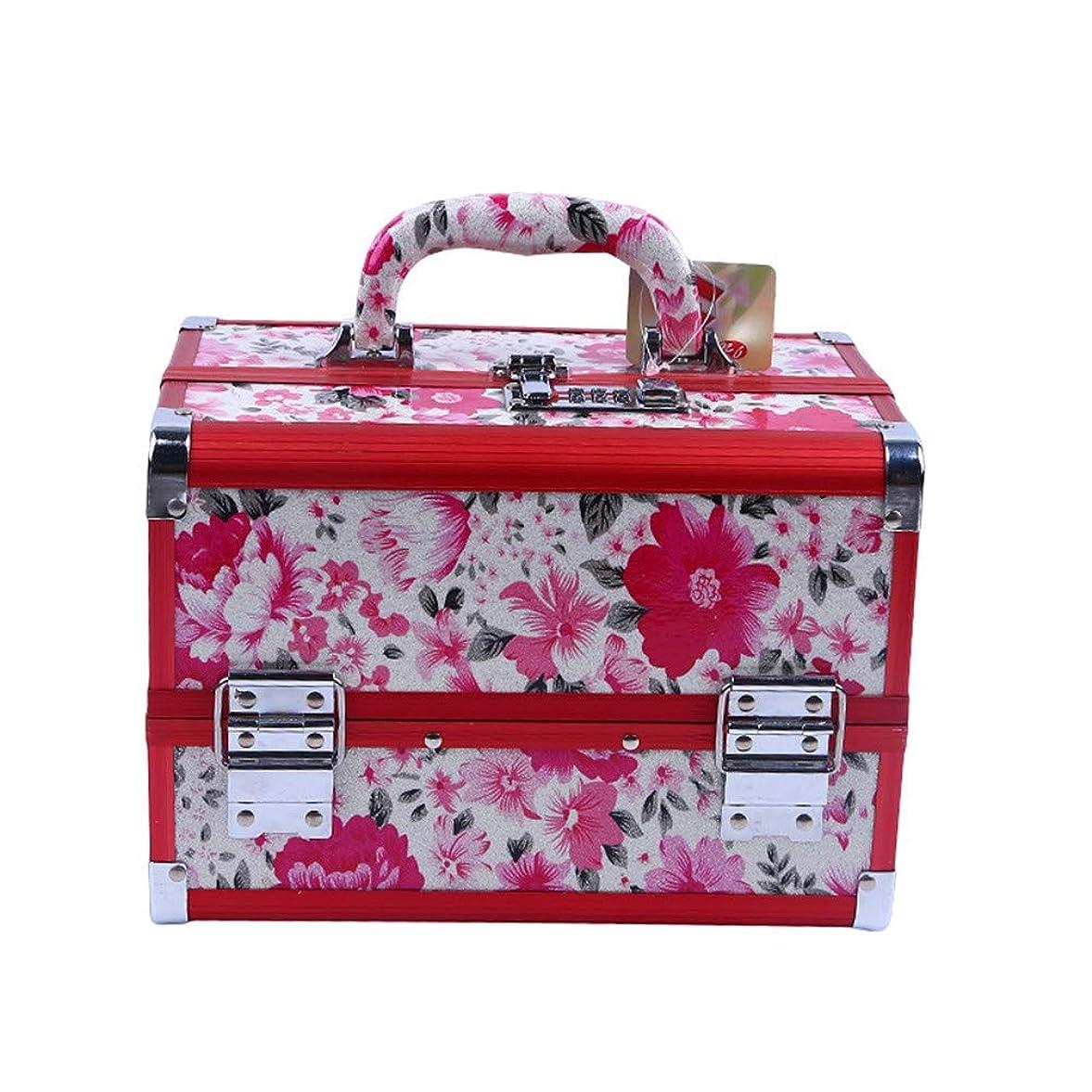 武器私達次化粧オーガナイザーバッグ 花のパターンポータブル化粧品ケース美容メイクアップと女の子の女性の旅行と毎日のストレージロック付きトレイ付き 化粧品ケース