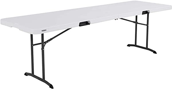 Lifetime 80733 Fold In Half Banquet Table 8 Foot White Granite