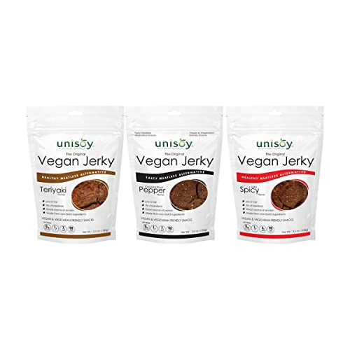 Unisoy Vegan Jerky Snacks, Vegetarian Plant Based Soy Protein Snack, The Original Meatless Healthy Jerky for Road Trips or Snacks On the Go (Variety 3-Pack)