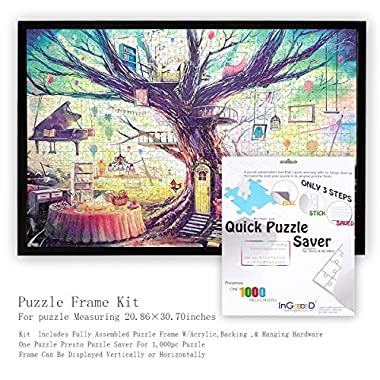 Ingooood- Jigsaw Puzzle Frame Kit with puzzle saver - Made To Display Puzzles Measuring 30.7 X 20.86 Inches-1000 Pieces Jigsaw Puzzle Preserve and Saver made by wooden and acrylic Home Decor Frame