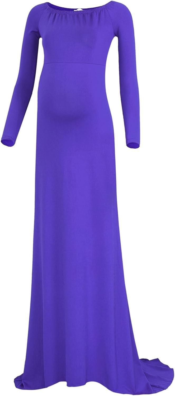BlackCherry Women's Long Sleeve Maternity Tank Gown Maxi Dress