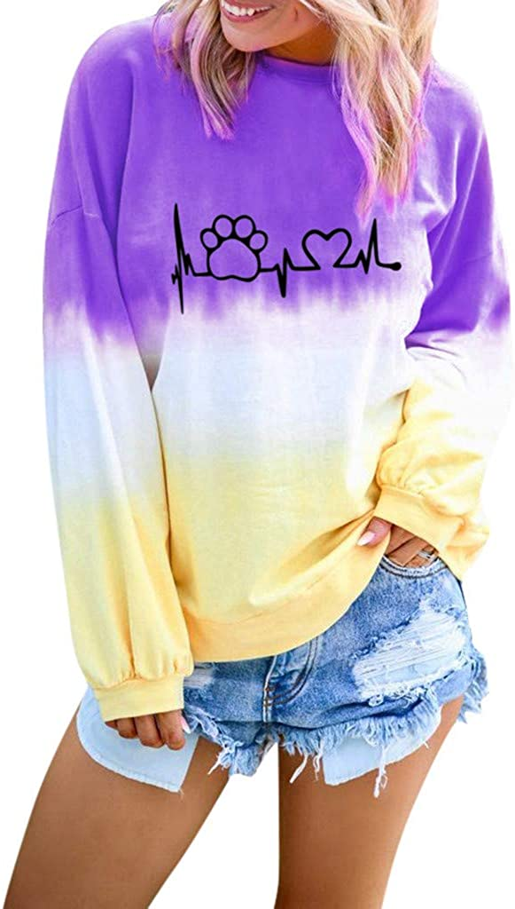 AODONG Sweater for Womens Long Sleeves Cute Cat Claw Printing Color Block Sweatshirts Pullover Blouse Tops
