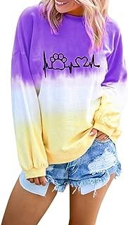 Women's Crewneck Gradient Tie Dye Print Shirts Long Sleeve Pullover Sweatshirt Tops S-XXL
