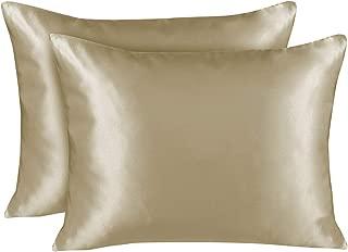 Shop Bedding Luxury Satin Pillowcase for Hair – King Satin Pillowcase with Zipper, Champagne (Pillowcase Set of 2) – Blissford