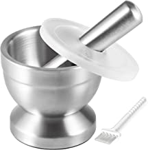 Tera 18/8 Stainless Steel Mortar and Pestle with Brush,Pill Crusher,Spice Grinder,Herb Bowl,Pesto Powder