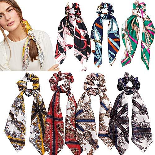 Coleteros para el pelo, pañuelos de satén, efecto seda, cintas para el pelo, elásticas, de estilo vintage, pañuelo anudado con goma elástica para coleta, ideal para mujeres y niñas, 7 unidades