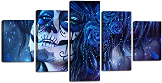 Dia De Los Muertos Skull Design Canvas Day of the Dead Wall Art Painting 5 PCS Modern Posters and Prints Awesome Girl Pictures for Living Room,Home Decor Gallery-wrapped Framed Stretched(60''Wx32''H)