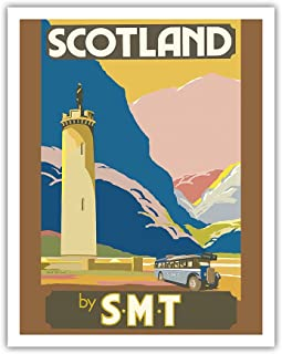 Pacifica Island Art Scotland by S.M.T (Scottish Motor Traction) - Glenfinnan Monument Tower - Loch Shiel - Vintage World Travel Poster by Jack Peacock c. 1920s - Fine Art Print - 11in x 14in