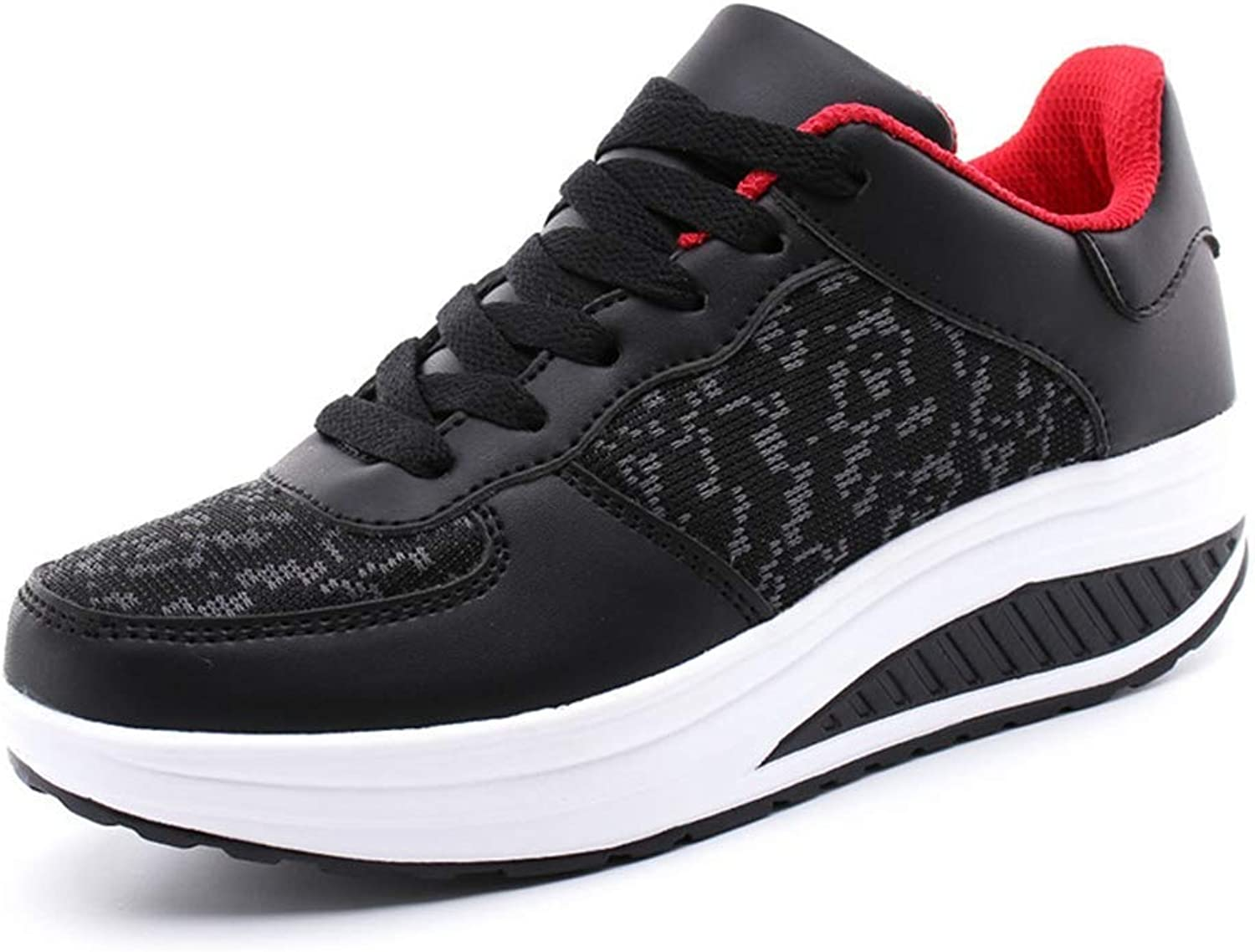 Wallhewb Women's Summer Wedges Lace Up Creepers Casual shoes Platform Trainers Basket Sneakers Hot Pants to Wear with Dresses Rubber Sole Tennis shoes Comfortable Dress Black 5 M US Casual shoes