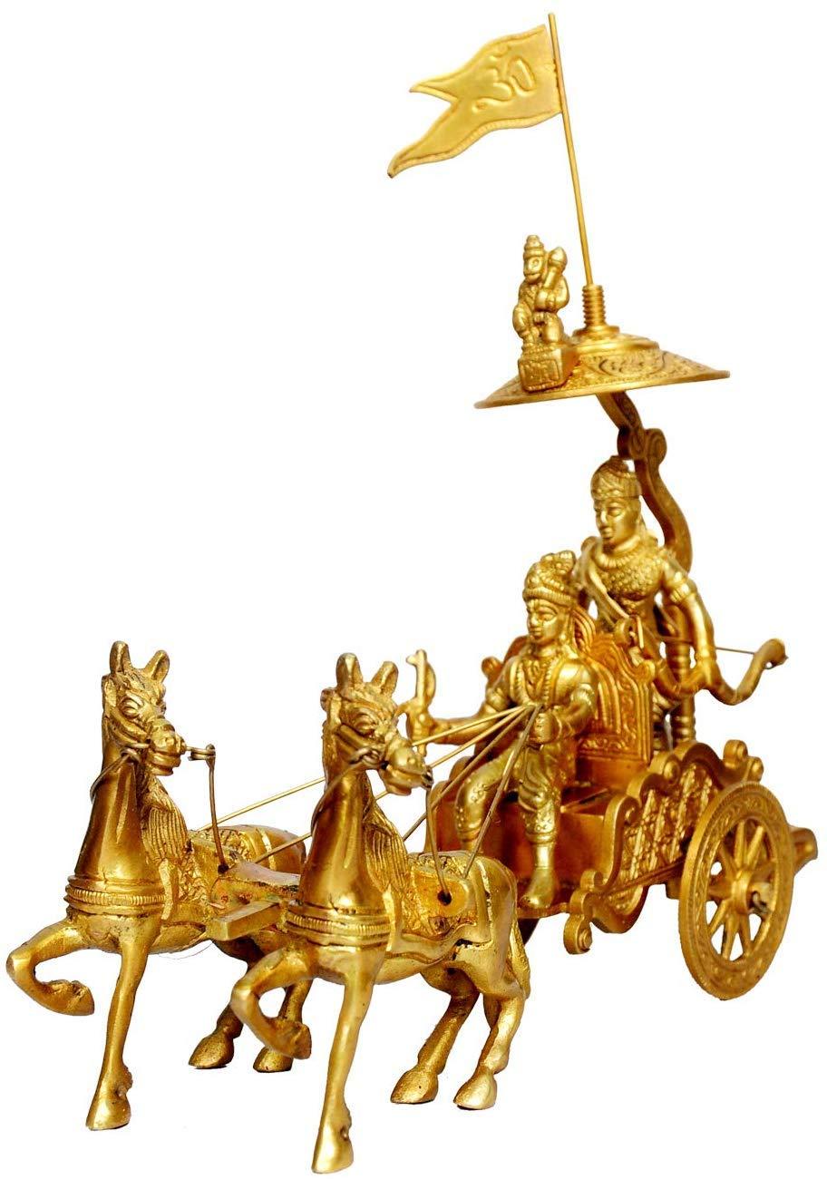 Buy Metal Brass Arjun Rath Idol Mahabharat Geeta Arjun Chariot Rath With Krishna Hanuman Krishna Arjun Updesh Gita Saransh Online At Low Prices In India Amazon In