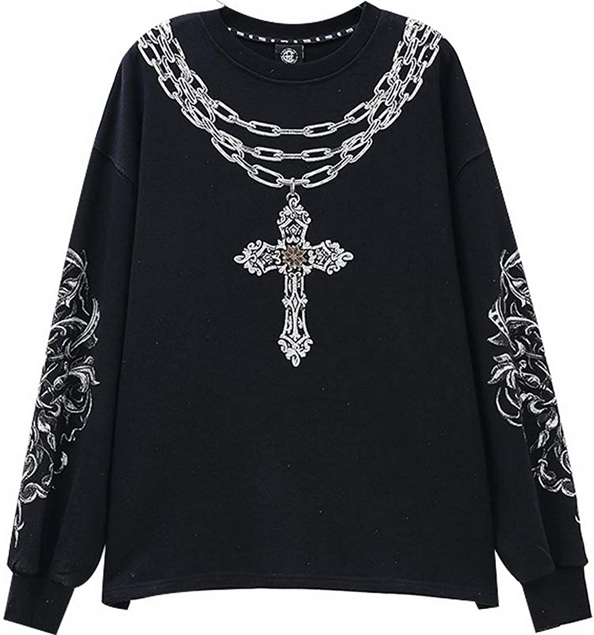 Tide Brand Big C hot Beads Chain Cross Loose Casual Sweater Men and Women T201116015