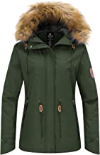 Wantdo Women`s Waterproof Ski Jacket Hooded Snow Coat Mountain Fleece Parka