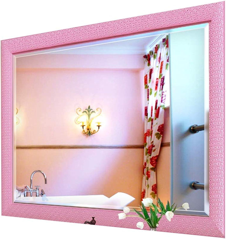 Mirror Wall Hanging Mirror Bathroom Mirror Bathroom Mirror Vanity Mirror Decorative Mirror Home Square Mirror HD (color   Pink, Size   60  45cm)