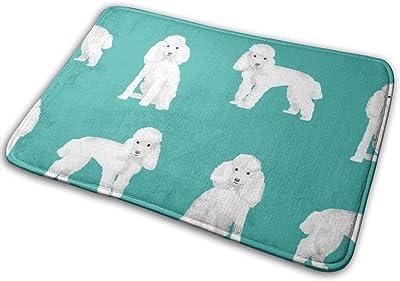 """Toy Poodle White Simple Dog Breed Turquoise_25011 Doormat Entrance Mat Floor Mat Rug Indoor/Outdoor/Front Door/Bathroom Mats Rubber Non Slip 23.6"""" X 15.8"""""""