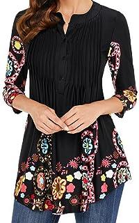 FAMILIZO Camisas Mujer Largas Camisetas Mujer Verano Tops Mujer Primavera Camisetas Mujer Largas Camisetas Mujer Manga Larga Algodon Tallas Grandes Mujer Fiesta Blusas Mujer Fiesta