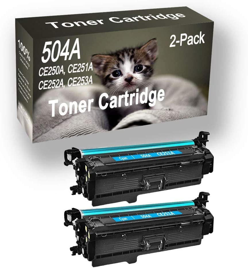 2-Pack (Cyan) Compatible High Yield 504A CE251A Printer Toner Cartridge use for HP Pro CM3530, CM3530FS, Printers