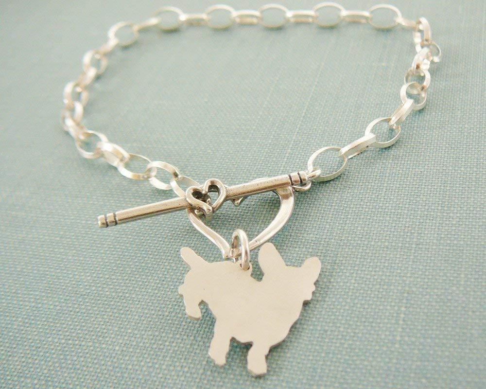 .925 Fresno Mall Sterling Cardigan Welsh Corgi Tog Bracelet Chain with Manufacturer OFFicial shop Heart