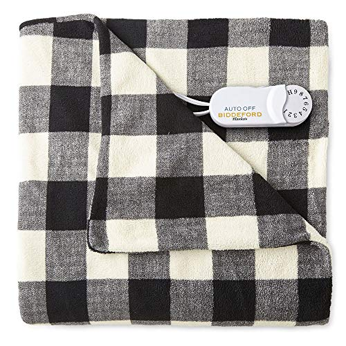 Pure Warmth Comfort Knit Fleece Electric Heated Warming Throw Blanket Black White Buffalo Washable...