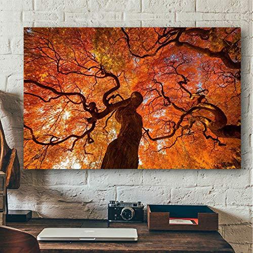 Paisaje de Tronco de árbol Rojo Grande_1000pcs_Wooden Puzzle Puzzle_Rompecabezas de Papel, Rompecabezas ensamblados, Rompecabezas para Adultos, Juguetes educativos para niños_50X75CM