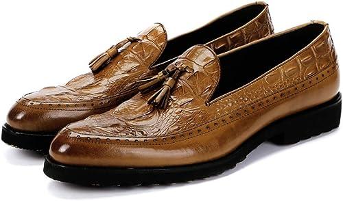 ZHRUI Slip on Mocasines con patrón de cocodrilo para herren schuhe de Suela Suave de Cuero Genuino (Farbe   Gelb, tamaño   EU 41)