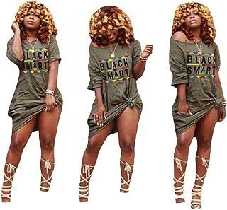 Womens Off Shoulder Letter Print T Shirt Dress Summer Short Sleeve Tunic Dress