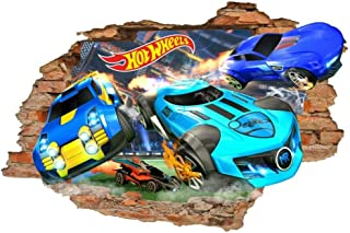 Wall Stickers Hot Wheels Wall Decals, Toy Wall Stickers, Cars, Removable Vinyl Stickers-50 * 70 cm