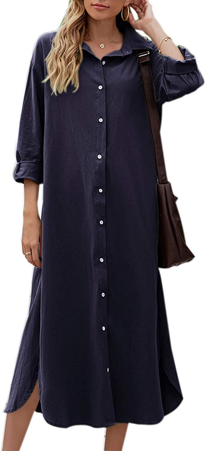 Sopliagon Women shop Cotton and Limited Special Price Linen Shirt Loose Maxi Casual Dress D