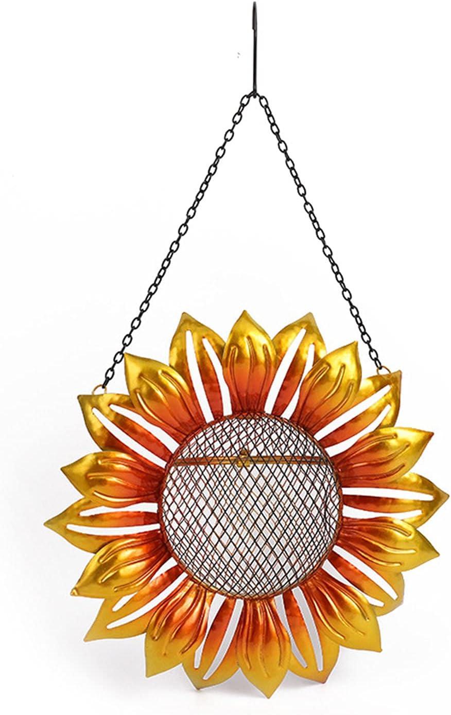 Popular overseas DUDNJC Metal Sunflower Hanging store Bird with Seed Feeder Mesh