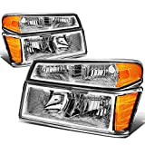 Replacement for Chevy Colorado/GMC Canyon 4Pcs Chrome Housing Amber Corner Headlight Bumper Light