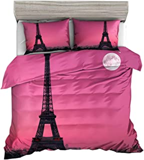 Yikaisheng 3D Eiffel Tower Bedding Set Twin Size,Romantic French Paris Eiffel Tower Printed in Pink Duvet Cover Set. 3pcs(1 Duvet Cover,2 Eiffel Tower Pillowcases),No Comforter Inside.