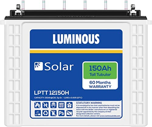 Luminous LPTT12150H 150Ah Solar Tall Tubular Battery (60Months)