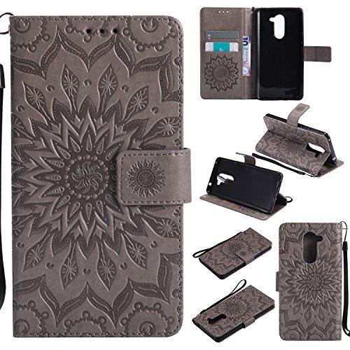 Hülle für Huawei Honor 6X/GR5 2017 Hülle Handyhülle [Standfunktion] [Kartenfach] [Magnetverschluss] Tasche Flip Case Cover Etui Schutzhülle lederhülle klapphülle für Huawei Honor 6X - DEKT030904 Grau