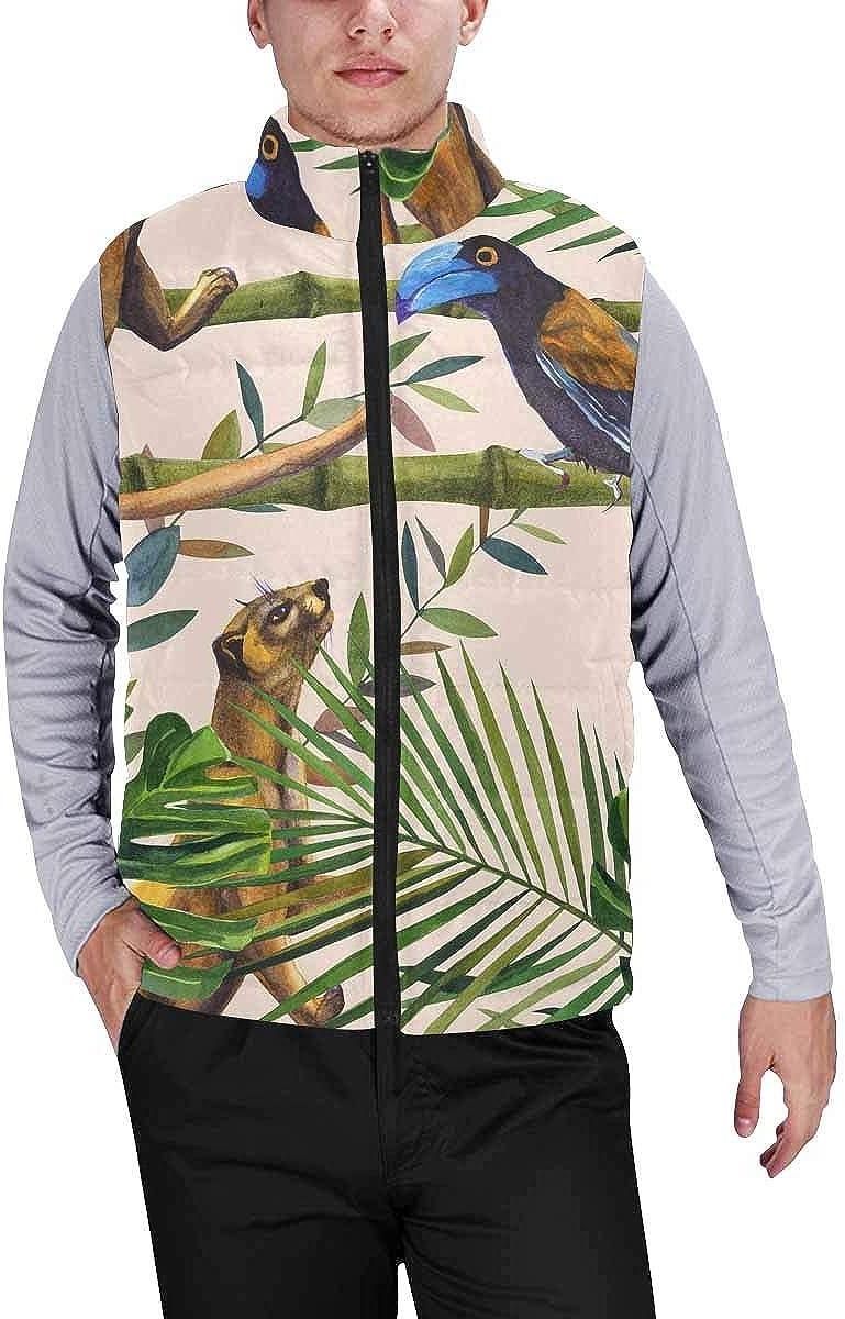 InterestPrint Men's Casual Sleeveless Coats with Personality Design Frangipani Plumeria and the Bird of Paradise
