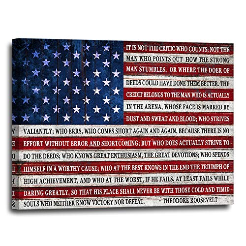 Inspirational Teddy Roosevelt Quote Wall Decor Canvas 16x20 - Patriotic Daring Greatly Poem - Great for Home, Office, Apartment, Bedroom - Gift for Athlete, Student, Military, Vet - USA American Flag