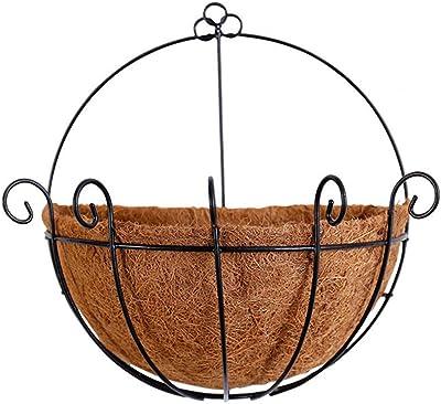 25cmx25cm Pared Siembra Maceta Colgador Exterior Coco Decoraci/ón del Jard/ín Chomile Redondo Medio Tiesto Cestas Colgantes