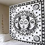 Psicodélico blanco y negro sol y luna mandala tapiz colgante de pared bohemio celestial hippie tapiz tela colgante A3 150x200cm