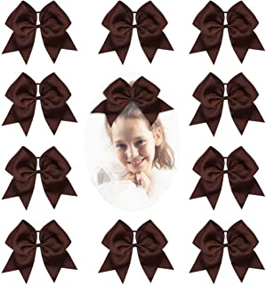 CN Girls Cheerleader Bow with Ponytail Holder for Cheerleading Girl Pack of 10