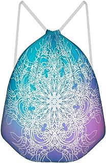 Ziwa88 6 Pcs Magical Mandala Drawstring Bag Casual Polyester Sports Sackpack Bag Hiking for Teenagers 4134cm
