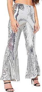 Chemenwin Womens Sexy High Waisted Wide Leg Glitter...