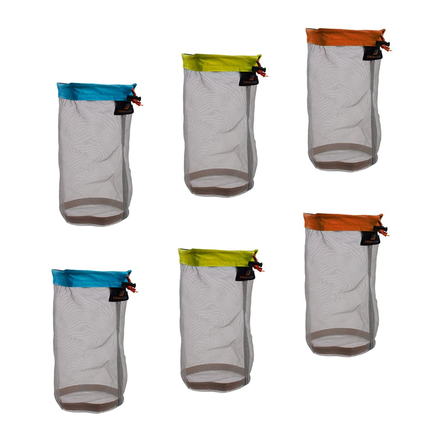 スティック勧告冷凍庫DYNWAVE 超軽量 メッシュ スタッフ袋 巾着ポーチ 収納袋 6個