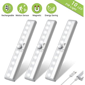 Under Cabinet Lighting, OxyLED USB Rechargeable Motion Sensor Closet Light, Wireless Magnetic Stick-on Cordless 10 LED Night Light Bar for Closet Cabinet Wardrobe Stairs, 3 Pack