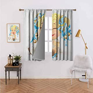 Small Window Curtain Happy Smiling Baby with Bells Tied up to His Horns Birth and Future Theme Multicolor Courtyard Porch Gazebo Decoration 63